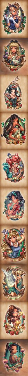 disney princesses as tattoos, fan art