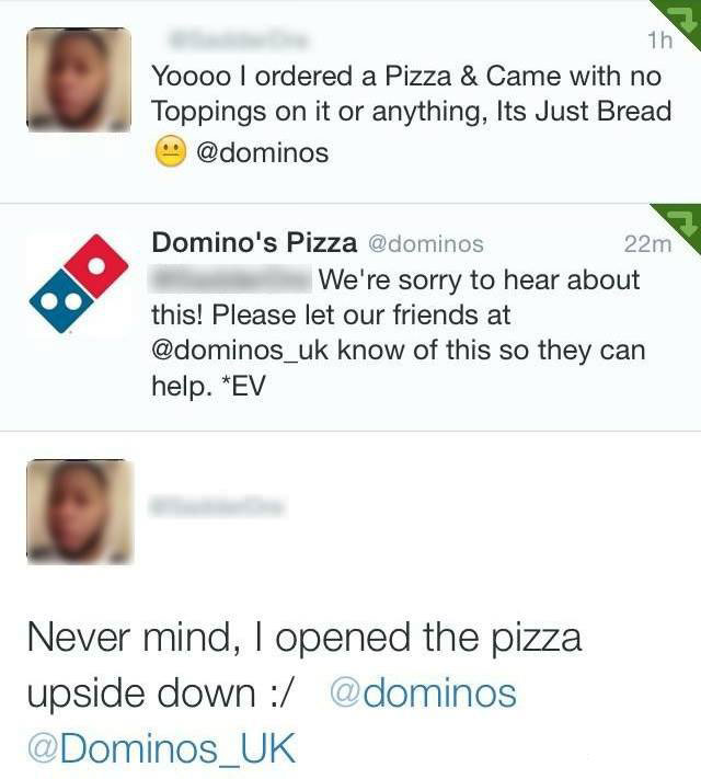 twitter user opens a pizza upside down and admits to his error