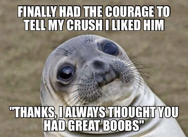 finally had the courage to tell my crush i liked him, thanks i always though you had great boobs, awkward moment seal, meme