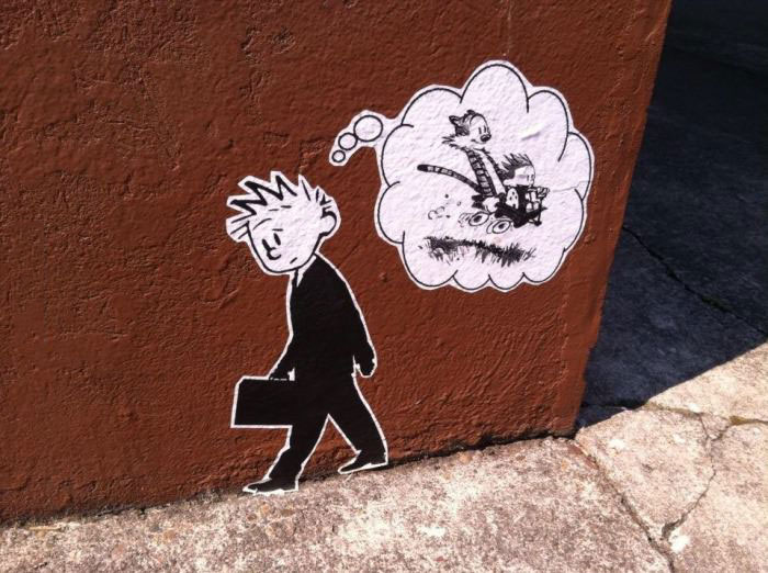 growing up is not all it is cracked up to be, calvin and hobbes graffiti