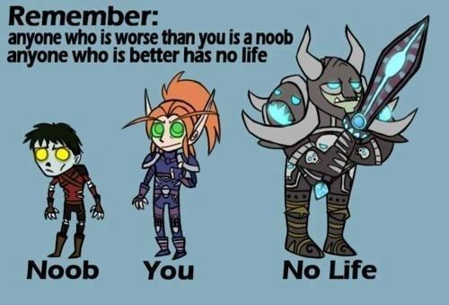 the first rule of online gaming, anyone worse than you is a noob, anyone better than you has no life
