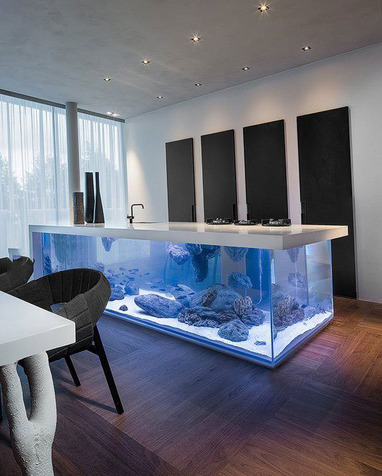 Genial Kitchen Floating Island Is A Giant Aquarium Too