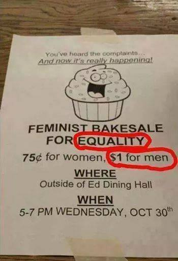 feminist bakesale for equality, 75 cents for women, 1 dollar for men, fail