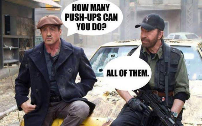 sylvester stallone asks chuck norris, how many push ups can you do, all of them