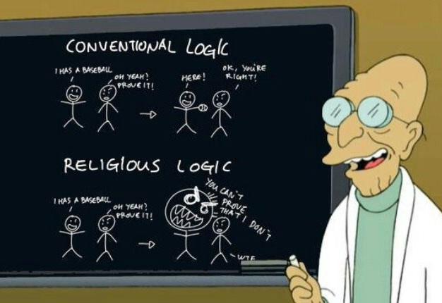conventional logic versus religious logic, futurama