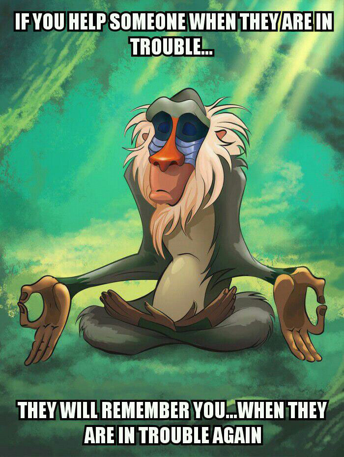 if you help someone when they are in trouble, they will remember you when they are in trouble again, rafiki meditating meme