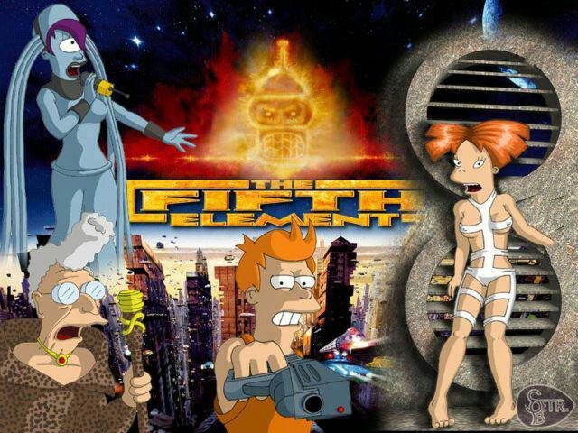 the fifth element if it were remade by the cast of futurama, fan art mashup