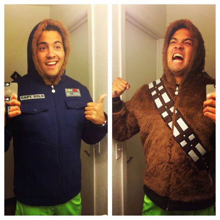 cool star wars reversible sweater, han solo, chewbaca
