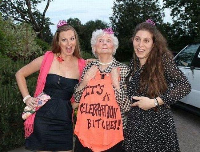 grandmother wearing a shirt saying it's a celebration bitches
