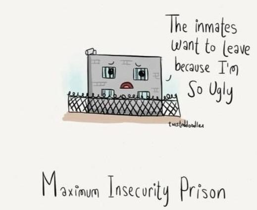 the inmates want to leave because i'm so ugly, maximum insecurity prison