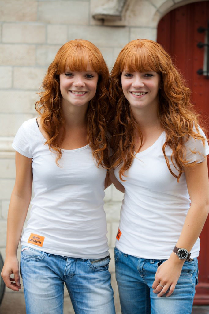 taken at international ginger day in the netherlands, twin red haired girls