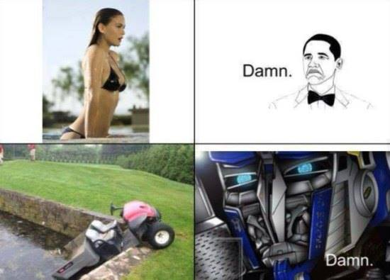 damn, girl getting out of a pool, car sticking out of a pool, transformers, lol