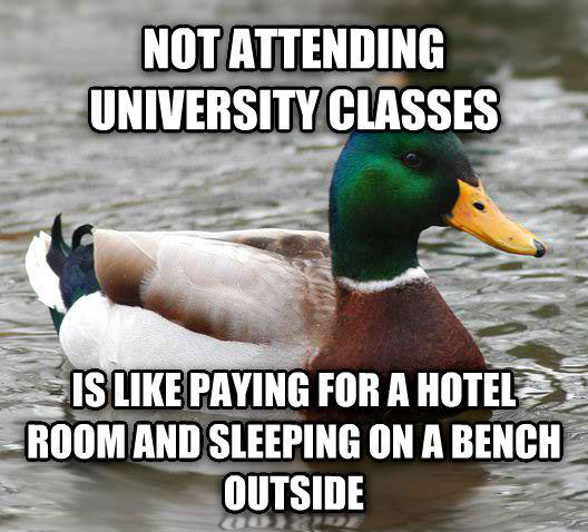 not attending university classes is like paying for a hotel room and sleeping on a bench outside