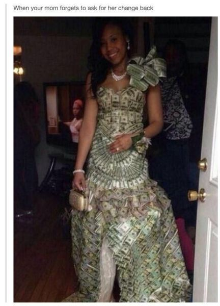 the most expensive wedding dress ever, dress made out of dollar bills, when your mom forgets to ask for her change back