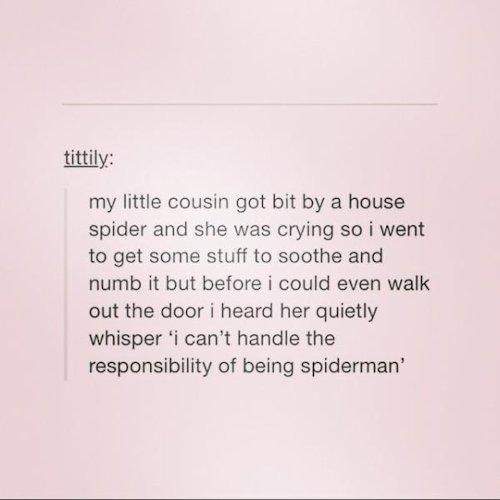 my little cousin got bit by a house spider, i can't handle the responsibility of being spiderman, lol