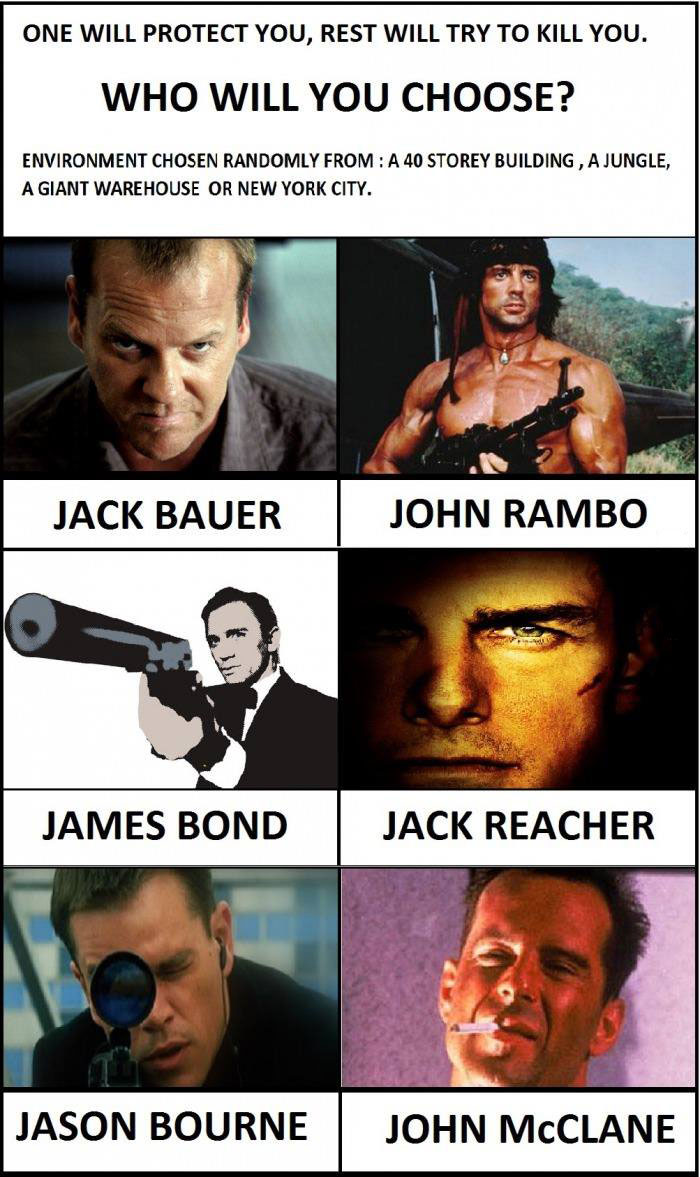 one will protect you and the rest will try to kill you, who will you choose?, tv and film hero debate game