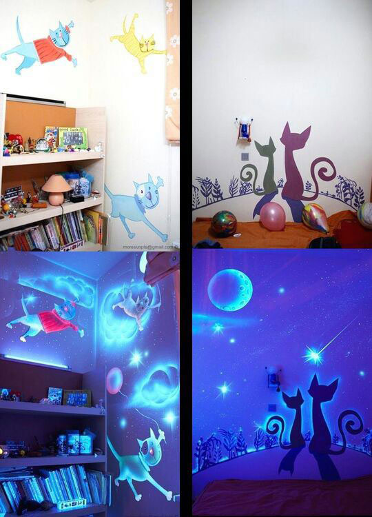 great idea for painting a child's room, glow in the dark art work