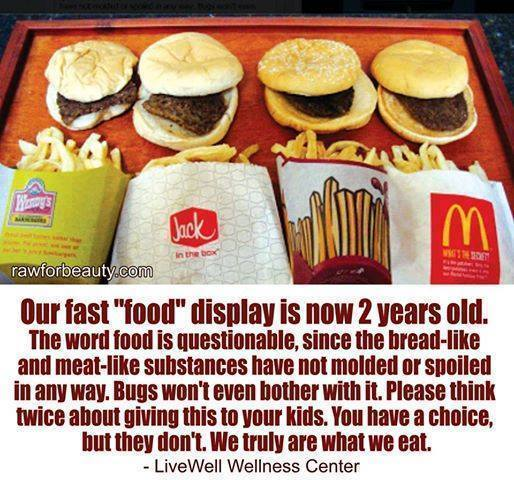 our fast food display is now 2 years old, the word food is questionable since the bread like and meat like substances have not molded or spoiled, please think twice about giving this to your kids