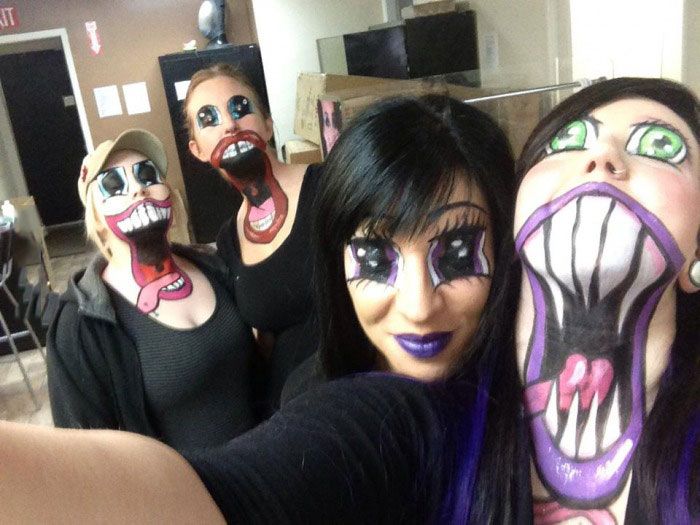 really freaking creepy costume idea for halloween, face paint
