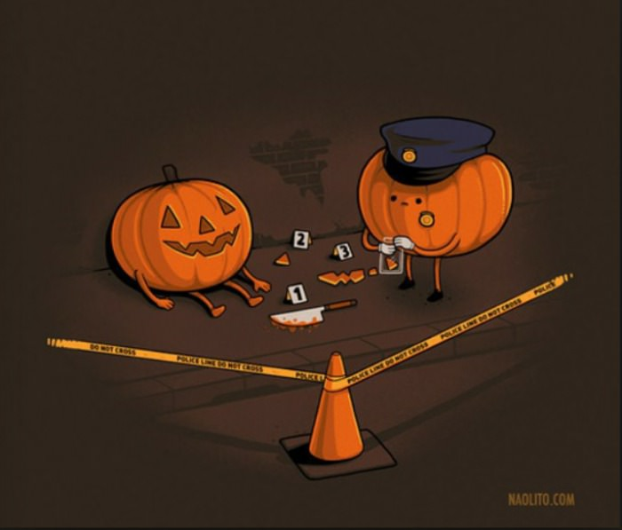 jack o lanter crime scene, pumpkin carving, knife, halloween