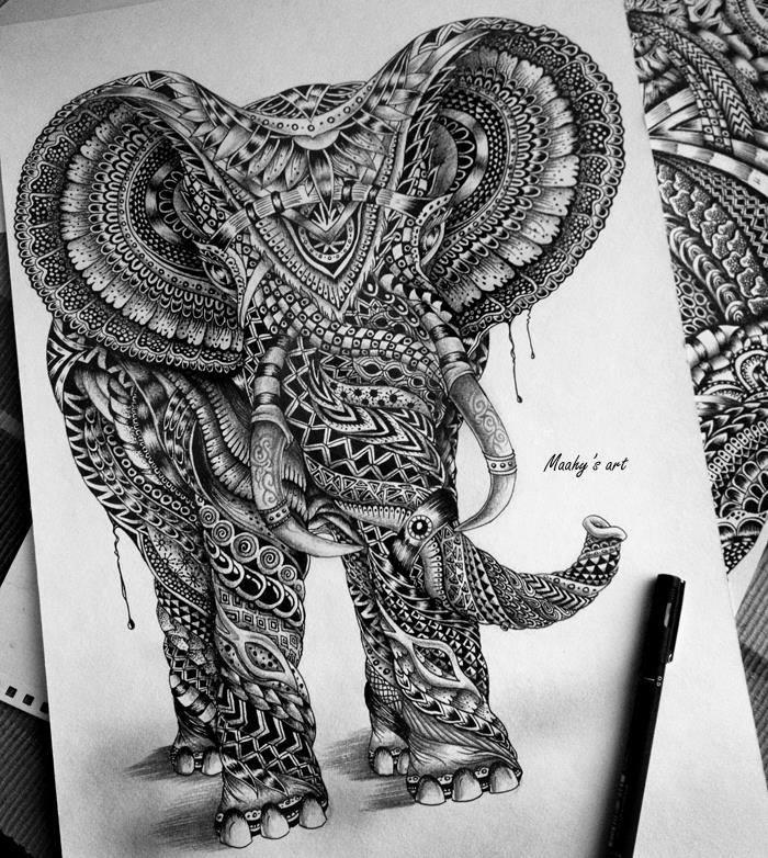 maahy's art psychedelic elephant