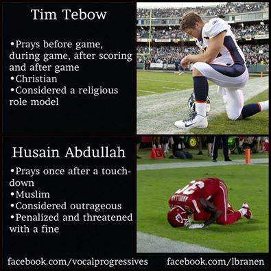 time tebow, prays before game, during game and after game, considered a religions role model, husain abdullah, prays once after a touch down, muslim, considered outrageous and penalized, hypocrite nfl