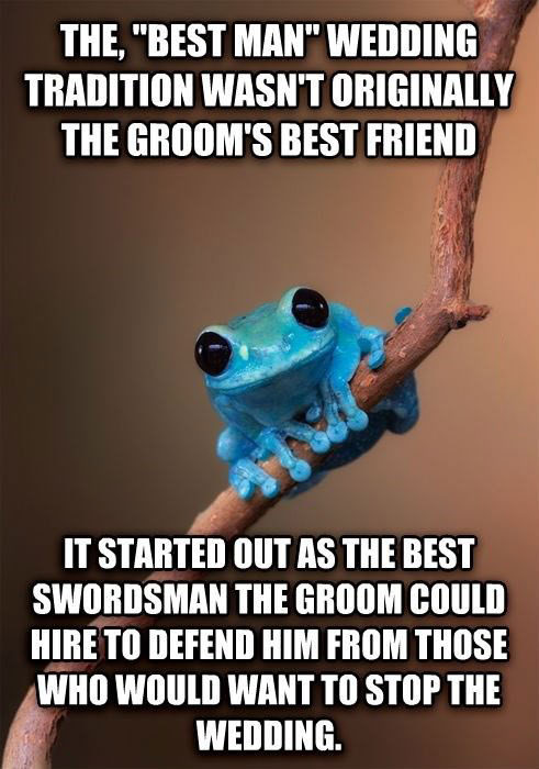 the best man wedding tradition wasn't originally the groom's best friend, it start out as the best swordsman the groom could hire to defend him from those who would want to stop the wedding, small fact frog