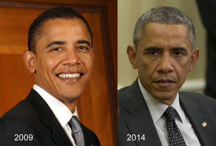 the most stressful job in the world, barack obama in 2009 versus 2014