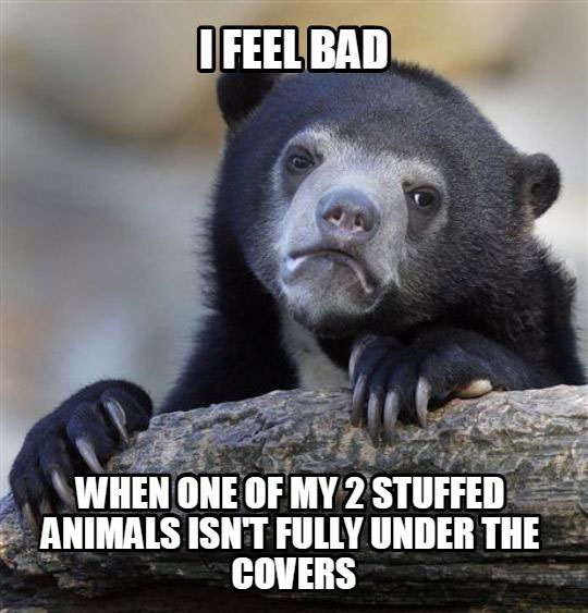i feel bad when one of my 2 stuffed animals isn't fully covered under the covers, confession bear, meme