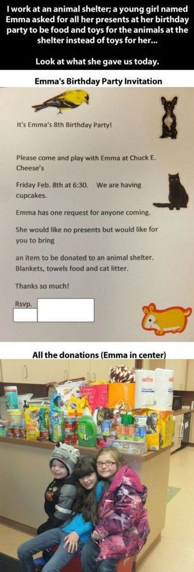 little girl asks for something unusual for her birthday, all the donations with emma in the center, animal shelter