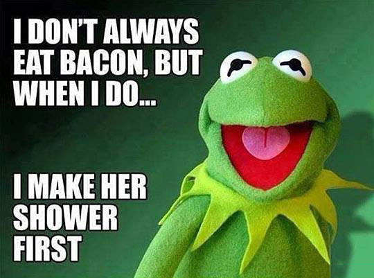 i don't always eat bacon, but when i do i make her shower first, kermit the frog, most interesting man, meme