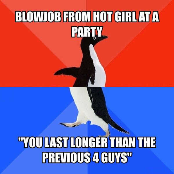 blowjob from hot girl at a party, you last longer than the previous 4 guys, socially awkward penguin, meme