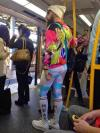 hipster level 9000, poorly dressed on public transit