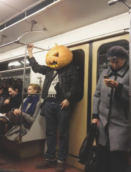 even the pumpkin king rides public transport