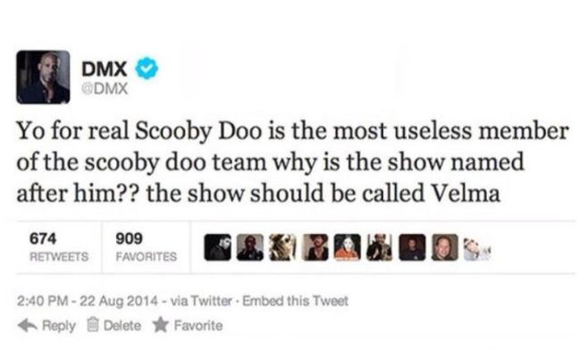 yo for real scooby doo is the most useless member of the scooby doo team, why is the show named after him??, the show should be called velma, twitter