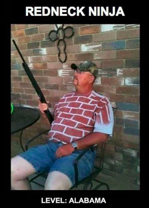 redneck ninja level: alabama, brick wall shirted man holding rifle