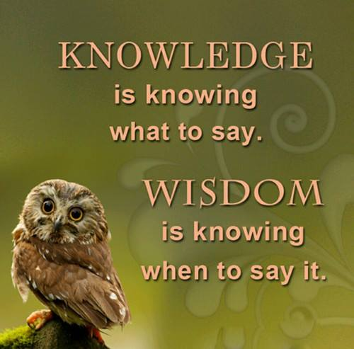 knowledge is knowing what to say, wisdom is knowing when to say it