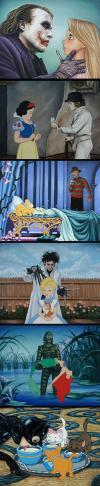 popular movie villains and disney princesses, fan art, mashup