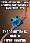 there are some people who remember every individual day of their lives, the condition is called hyperthymesia, small fact frog, meme