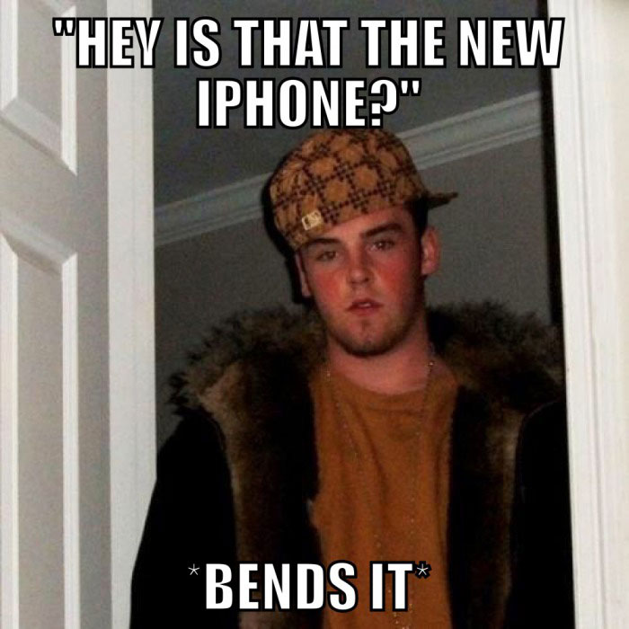 hey is that the new iphone?, bends it, scumbag steve, meme