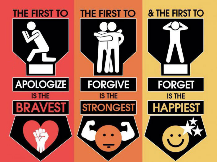 the first to apologize is the bravest, the first to forgive is the strongest, the first to forget is the happiest