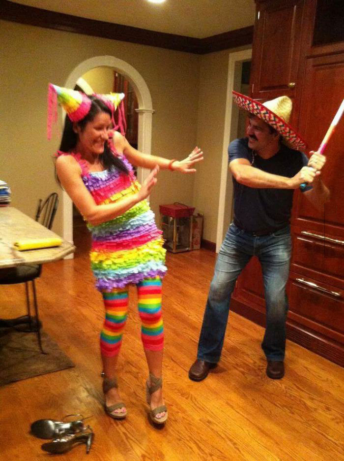great costume idea for a couple this halloween, conjugal violence, i mean a pinata