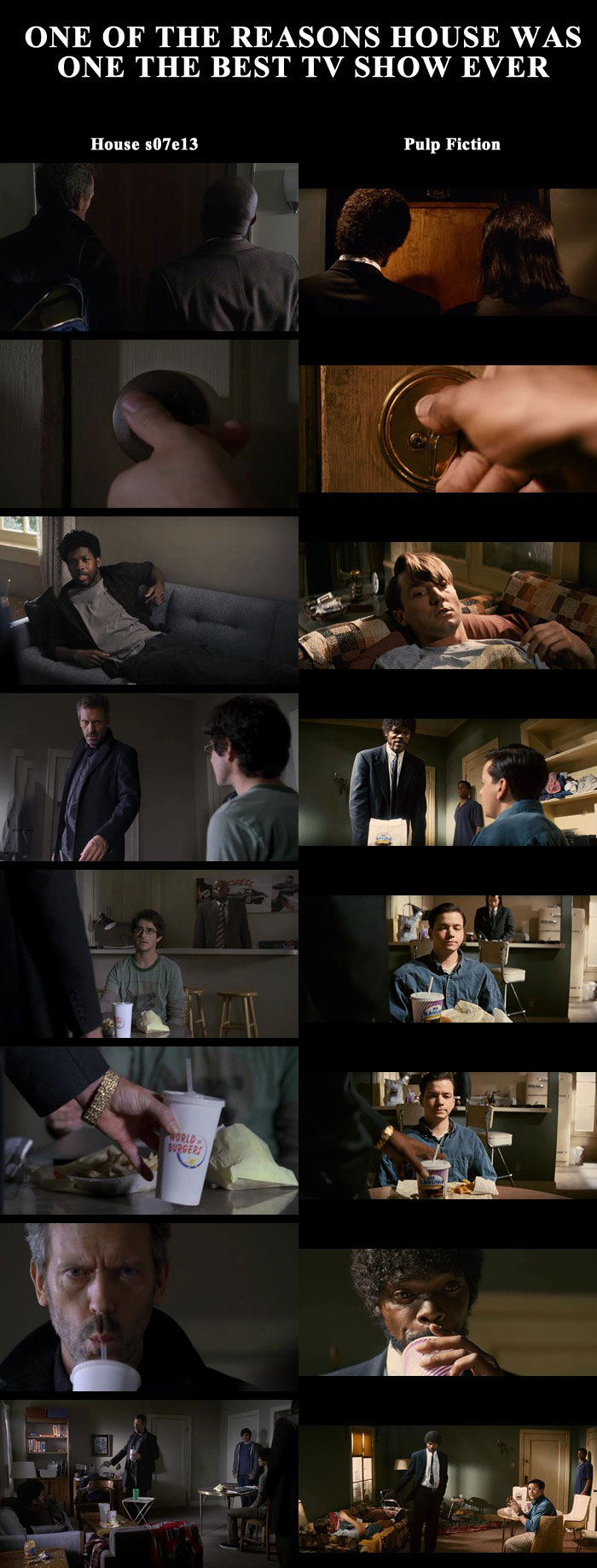 one of the reasons house was one of the best tv shows ever, pulp fiction scene, house s07e13