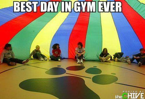 best day in gym ever, parachute game in primary school