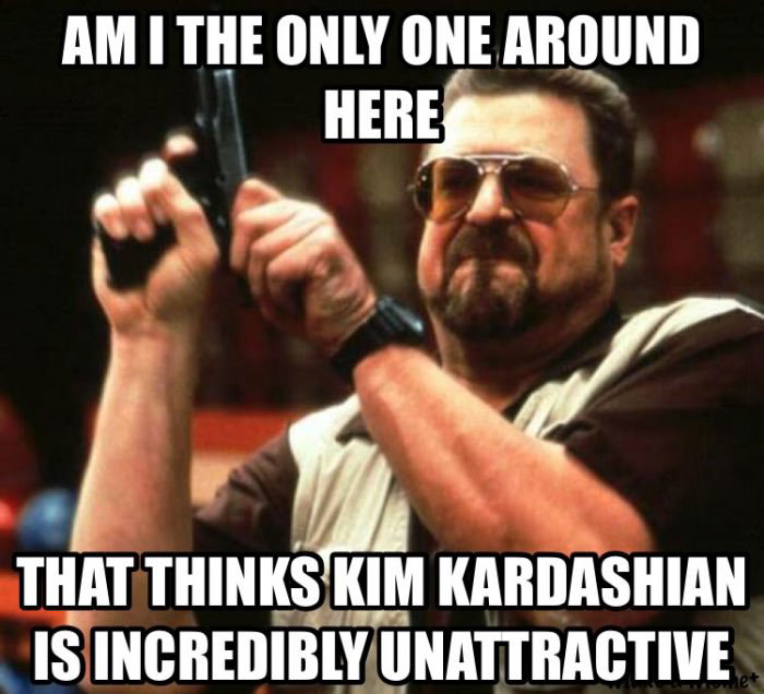 am i the only one around here that thinks kim kardashian is incredibly unattractive, meme