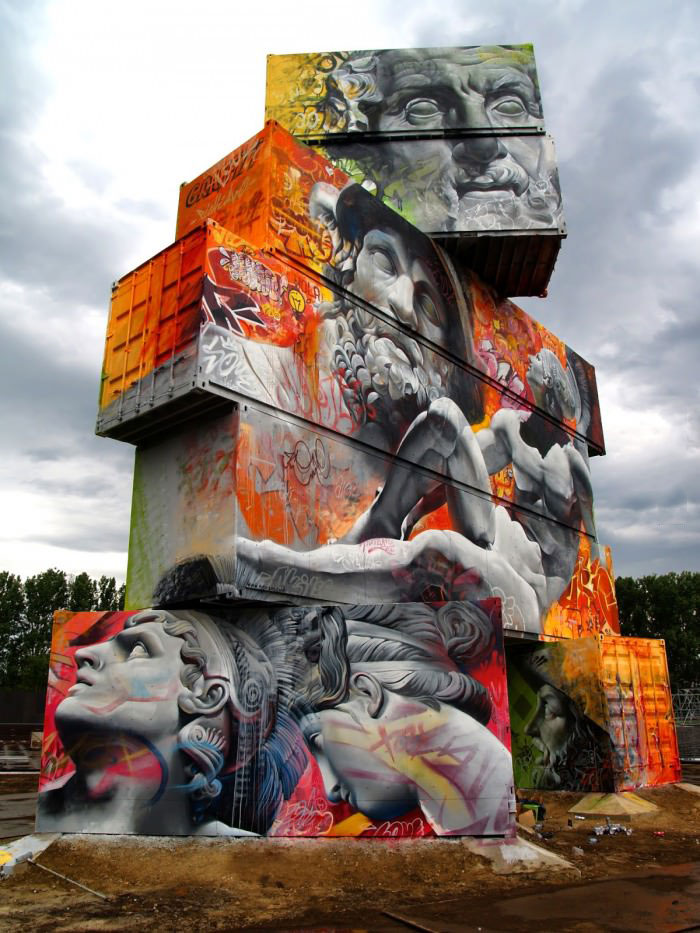 greek gods graffiti and cement structures, art