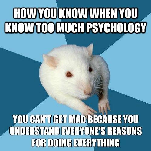 how you know when you know too much psychology, you can't get mad because you understand everyone's reasons for doing everything, meme