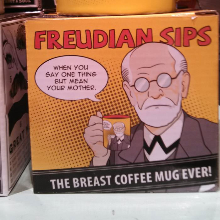 freudian sips, when you say one thing but mean your mother, the breast coffee mug ever