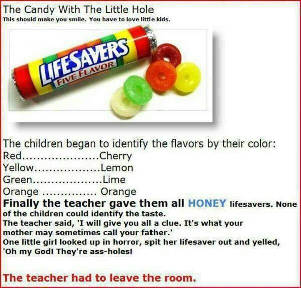 life savers the candy with the little hole, the teacher had to leave the room, funny story, kids say the darnedest things