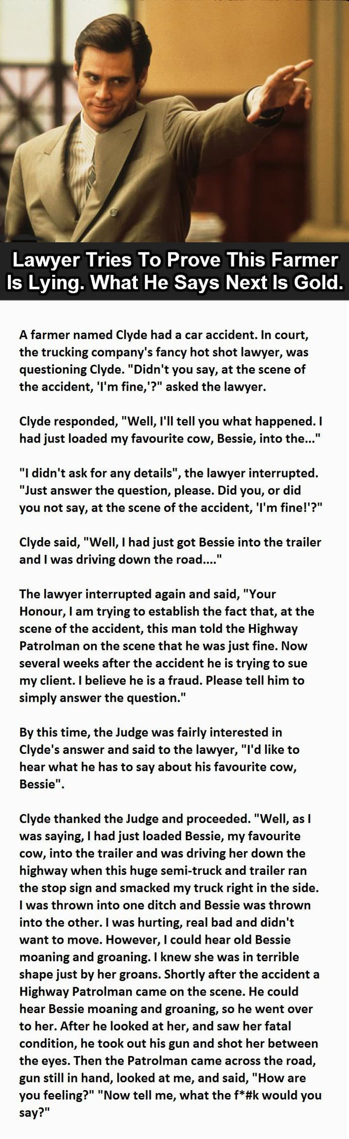 lawyer tries to prove this farmer is lying, what he says next is gold, story, lol, court case